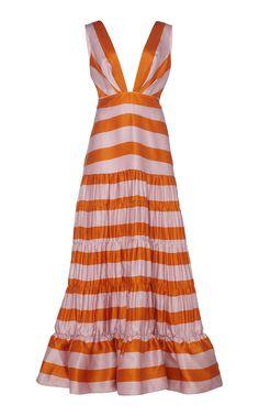 Moda Operandi Fall/Winter 2019 Johanna Ortiz - Orange and Pink Viveza Colorida Striped Silk-Satin Maxi Dress. Silk Gown, Satin Gown, Silk Satin, Silk Organza, Silk Floral Dress, Kaftan, Evening Dresses, Afternoon Dresses, Flapper Dresses