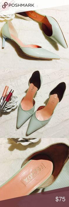 """😍Escada Heels😍 Amazing Mint green with baby blue heels by Escada! In really great shape! Some minor signs of wear but these are still a fabulous addition to have! 2 1/2"""" heel. Escada Shoes Heels"""