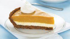 Kraft foods' two layer pumpkin pie Brownie Desserts, Oreo Dessert, Mini Desserts, Coconut Dessert, Just Desserts, Dessert Recipes, Dessert Table, Kraft Foods, Kraft Recipes