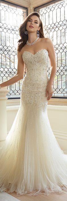 The Sophia Tolli Spring 2016 Wedding Dress Collection - Style No. Y11625 - Amira #laceweddingdress Kyle Earrings and Olivia Necklace www.davidtuteraembellish.com