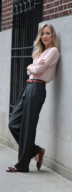 The Classy Cubicle: Get Loose {wide leg trousers, silk tie blouse, tassel loafers, braided belt}