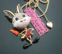 New Betsey Johnson cute little rabbit / carrot pendant crystal necklace N289 - http://designerjewelrygalleria.com/betsey-johnson/new-betsey-johnson-cute-little-rabbit-carrot-pendant-crystal-necklace-n289/