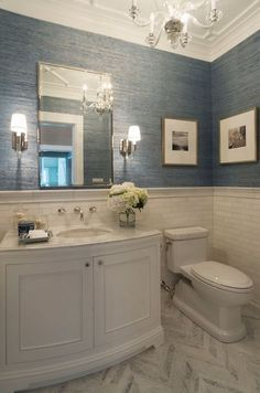 Powder Bathroom Remodel Powder Room Design Pictures Best Ideas On Half Bathroom Remodel Blue Wallpaper For Powder Bathroom Remodeling Ideas Bathroom Renos, Bathroom Flooring, Bathroom Renovations, Bathroom Interior, Master Bathroom, Bathroom Ideas, Bathroom Small, Bathroom Organization, Bathroom Marble