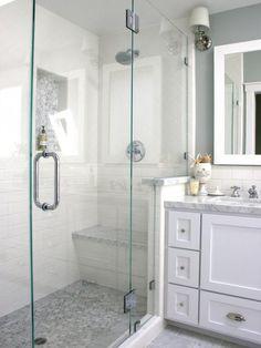 Like way vanity joins shower. Like simple tile arranged in interesting way.