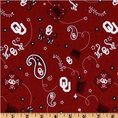 Collegiate Cotton Broadcloth University of Oklahoma Bandana Red
