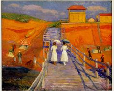 "William Glackens Cape Cod Pier, 1908 Oil on canvas 26"" x 32"" Collection of Museum of Art 