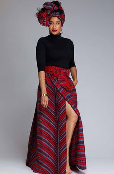 African Print Maxi Skirt with Sash (Red/Grey Stripes)- Clearance Cyrah African Print Maxi Skirt with Sash Red Grey Stripes – D'IYANU African Fashion Skirts, African Print Fashion, Skirt Fashion, Style Fashion, Fashion Trends, African Print Skirt, African Print Dresses, African Prints, African Attire