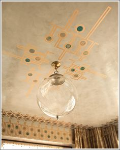 metallic painted ceiling detail by Sara Story from the Elle Decor Modern Life Concept House