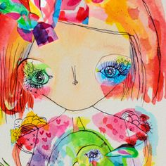 Ginnie  brand new inky watercolour collage 15 x 20cm
