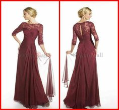 Only Top QualityMP-297 Custom Made High Collor Chiffon Floor Length Long Lace Dress With Long Sleeves Vintage Mother of The Brid US $177.89