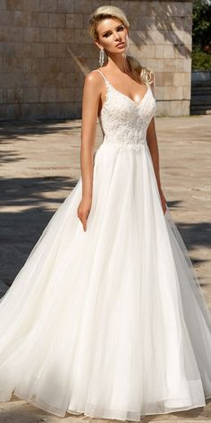 Chic Tulle Spaghetti Straps Neckline A-line Wedding Dress With Beadings & Lace Appliqes