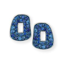 Mattioli Puzzle Diamond-Trimmed 18K Rose Hoop Earrings, Blue/Black/White