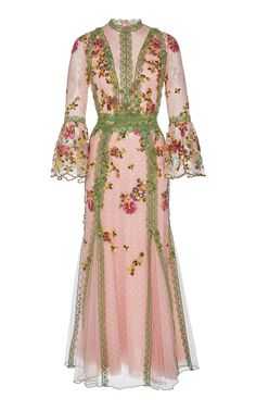 This Costarellos mockneck romantic tulle gown features blouson sleeves and embroidered tulle lace trims. Metallic Maxi Dresses, Pink Midi Dress, Beautiful Gowns, Beautiful Outfits, Mode Plus, Festa Party, Special Dresses, Ladies Dress Design, Designer Dresses