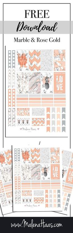 Malena Haas: FREEBIE Friday Pink and Rose Gold Marble Stickers Download