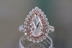 Load image into gallery viewer, pear brilliant double halo engagement ring with pink diamonds Pink Diamond Jewelry, Pink Diamond Engagement Ring, Double Halo Engagement Ring, Gold Jewelry, Thing 1, Pear Diamond, Blue Nile, Pink Diamonds, Opal