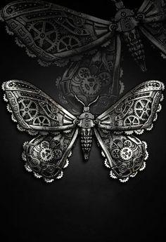 Restyle Mechanical Moth Hair Clip Goth Pewter