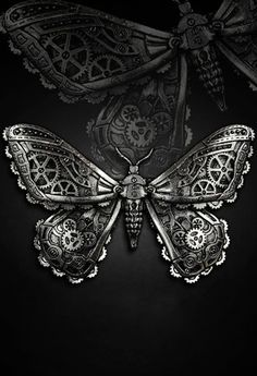 Restyle Mechanical Moth Hair Clip Goth Pewter