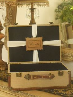 Wedding Card Box / Suitcase / Natural Woven Burlap by YesMoreFunk, $65.00