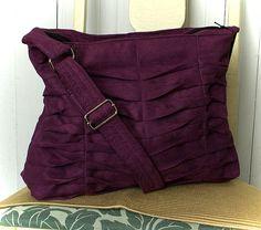 Handbag Purse in Purple Ultrasuede Hand Pleated. $69.00, via Etsy.