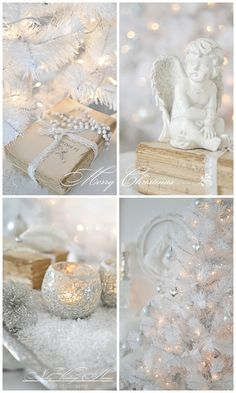 nelly vintage home: christmas White Christmas Trees, Magical Christmas, Silver Christmas, Noel Christmas, Little Christmas, Christmas And New Year, All Things Christmas, Xmas, Chritmas