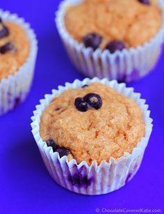 {oil free} Low Fat Blueberry Muffins