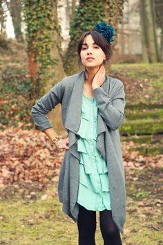 Grey Cardigan, Tiffany Blue, Long Sweaters, Ruffle Top, Feel Good, Vest, My Style, Jackets, How To Wear