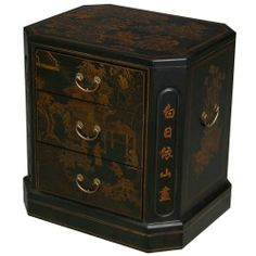 EXP Handmade Oriental Furniture 24-Inch Antique Style Black Leather 3-Drawer End Table, Oriental Poem by EXP. $239.00. Features hand-painted traditional chinese motifs of mountains, gnarled trees, and adroit horsemen. Features a sturdy wooden frame sheathed in thin layer of black leather. Beveled corners feature a string of aesthetically captivating mandarin characters. 24 in. h x 22 in. w x 18 in. l. Trio of drawers lends this accent piece a functional flair. An inimitable Or...