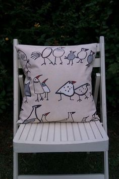 Seagulls And Chicks Cushion Cover In Designer Fabric With Lovely Back Detail | eBay