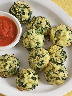 Yummy recipe for using up leftover rice. Spinach, onions, garlic... makes a great appetizer or side dish.