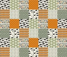 camping quilt // wholecloth cheater quilt green orange brown outdoors rustic woodland forest bear  fabric by andrea_lauren on Spoonflower - custom fabric