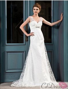 A-line V-neck Court Train Lace Satin Wedding Dress