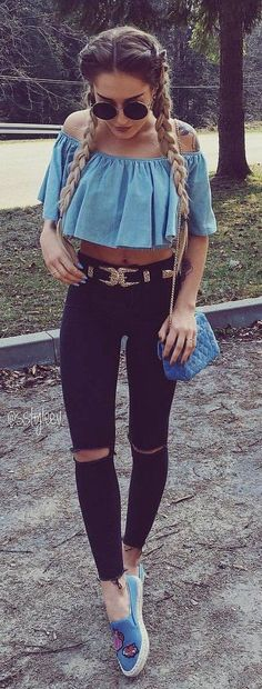 #spring #outfits  Blue Off The Shoulder Crop Top + Black Ripped Skinny Jeans