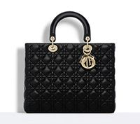 "Large ""lady dior"" bag in black lambskin - Dior"