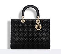 "Large ""lady dior"" bag in black lambskin - Dior"