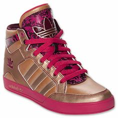 Women's adidas Originals Hardcourt Hi Casual Shoes | FinishLine.com | Tech Gold/Blast Pink/Light Maroon