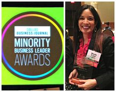 Wanda Granier of BridgeWork Partners with her award for Minority Business Leader 2014, Dallas Business Journal.