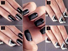 Black nails, metallic tint
