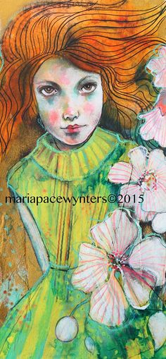 Her Wonder Original mixed media by Maria by MariaPaceWynters