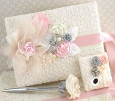 Wedding Guest Book and Pen Set in Blush Pink, Ivory, White and Grey/Silver with Lace and Pearls- Vintage Inspired on Etsy, $130.00