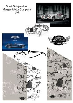 Design board for The Morgan Motor Company centenary scarf and tie
