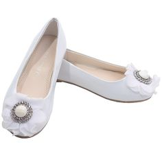 A pair of chic flats girl from Laura Ashley, suitable for daily footwear will fit comfortably bringing out a classy style. The white patent leather flats have a glittery rhinestone, gemstone and fabric flower decoration. If you want to consider every day