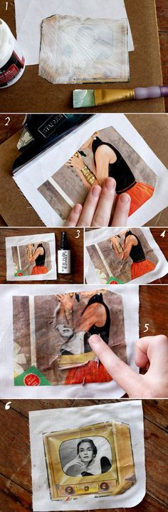 how to transfer photos to fabric without using iron-on sheets  http://abeautifulmess.typepad.com/my_weblog/2011/10/how-to-transfer-a-photo-to-fabric.html