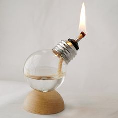 Pretty, but may be dangerous!    Mini Recycled Light Bulb Oil Lamp