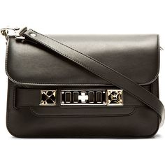 Proenza Schouler Black Leather PS11 Mini Classic Shoulder Bag (£1,090) ❤ liked on Polyvore featuring bags, handbags, shoulder bags, purses, sac, mini purse, leather handbags, handbags purses, shoulder handbags and genuine leather handbags
