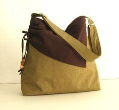 Khaki Water Resistant Nylon Bag  Brooke by tippythai on Etsy, $39.00
