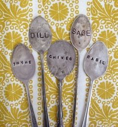 Idea:  Vintage spoon garden markers - flattened and stamped