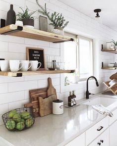 3 Tips for Creating a Modern Whitewashed Fireplace - allisa jacobs - - 3 tips for creating a whitewashed brick fireplace for a modern, updated living room space including important information about how to whitewash brick. Home Decor Kitchen, Kitchen Interior, Kitchen Ideas, Apartment Kitchen, Small Kitchen Designs, Kitchen Shelf Inspiration, Small White Kitchens, Decorate Apartment, Small Kitchen Renovations
