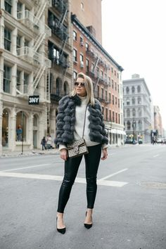 Grey fur coat // leather pants // white knit // Gucci bag // black heels // outfit by Linda Juhola
