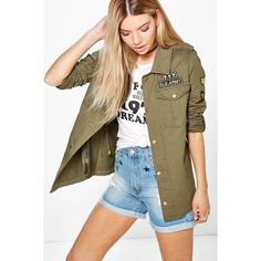Boohoo Boutique Boutique Lola Army Jacket (6745 RSD) ❤ liked on Polyvore featuring outerwear, jackets, khaki, puffy jacket, bomber jackets, field jacket, army jackets and puff jacket