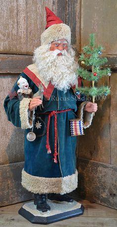 Rucus Studio Patriotic Santa © Rucus Studio 2011 Z Primitive Santa, Primitive Christmas, Christmas Mantles, Christmas Trees, Christmas Ornaments, Father Christmas, Blue Christmas, Saint Nicholas, Saint Nick